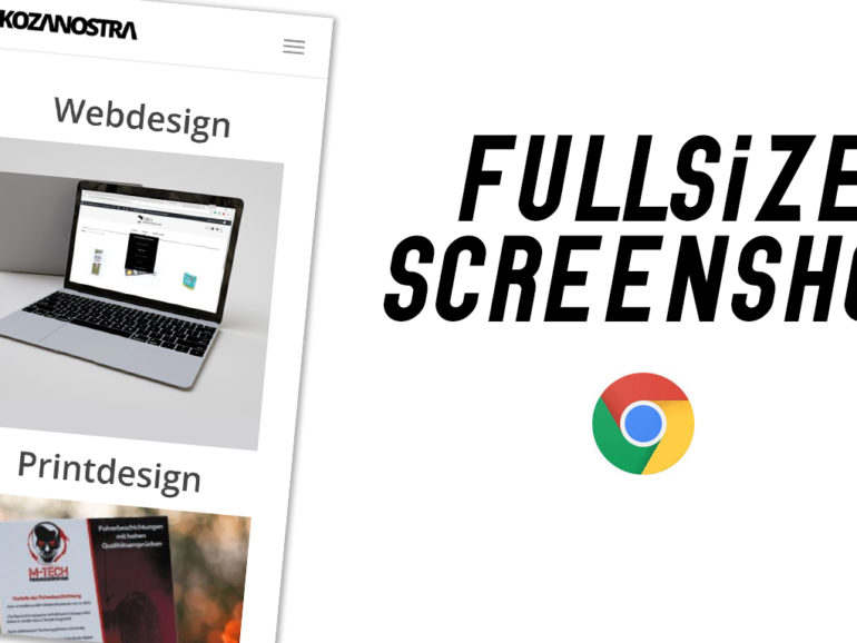 Fullsize Screenshot mit Google Chrome erstellen